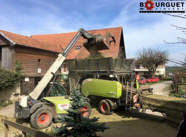 Doseur presse Claas – bottelage en grange